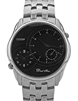 Silver/Black Dual Time Analog Watch CITIZEN