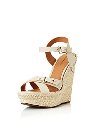Madison Harding Women's Riley Wedge Espadrille Sandal (Antique White)