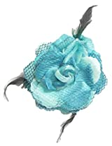 DollsofIndia Light Blue Rose Hair Clip with Feather (can be used as Hair Band and Brooch also) - Cloth - Blue