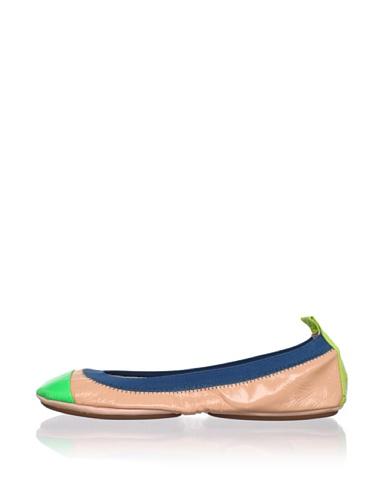 Yosi Samra Women's Colorblock Ballet Flat (Salmon/Lime/Lemon)