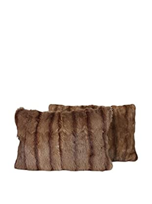 Set of 2 Mink Tan Stripe Pillows, Brown, 14