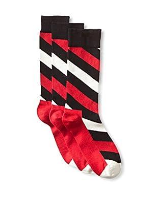 Happy Socks Men's Diagonal Stripe Socks - 3 Pack, Black/Red, 10-13 US