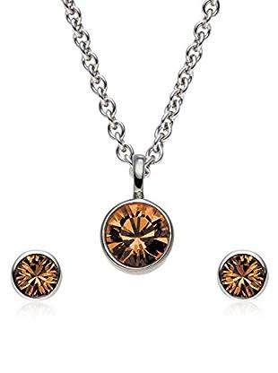 Saint Francis Crystals Set, 3-teilig Kette und Ohrstecker Made With Swarovski® Elements silberfarben/braun