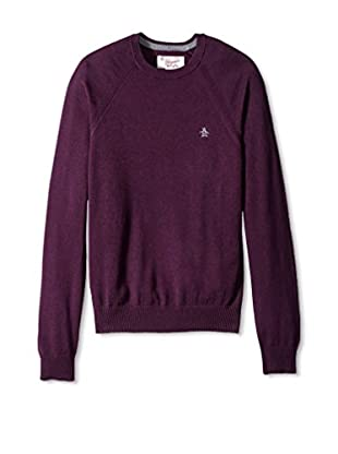 Original Penguin Men's Long Sleeve Raglan Jersey Crew Neck Sweater