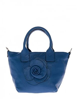 Elysa Tote-Bag mit Blumenapplikation (Blau)