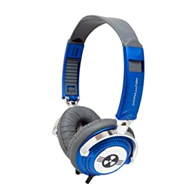 EarPollution Nerve Pipe Headphones - Stripes - Navy/Chrome