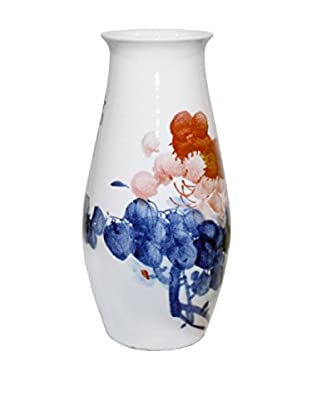 Asian Loft Ceramic Chinese Blossom Vase, White/Pink/Blue