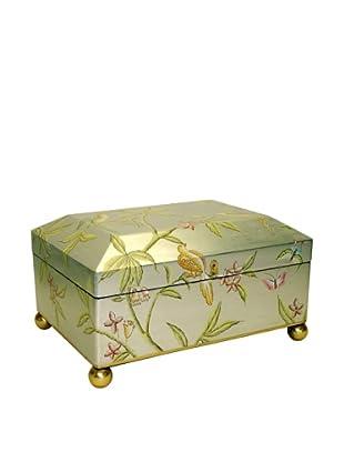 Castilian Jewelry Box, Brushed Silver/Green
