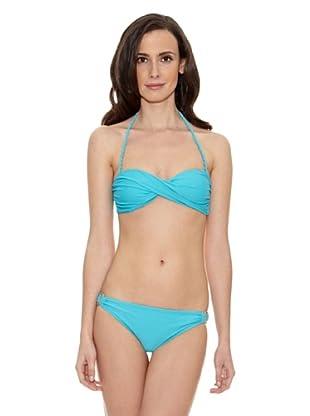 Cortefiel Bikini Liso Bandeau Prefor Ba (Azul)