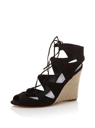 Delman Women's Basha Cut-Out Gillie Wedge (Black)