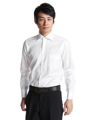 Mini Herringbone Wide Spread Shirt 2770: White