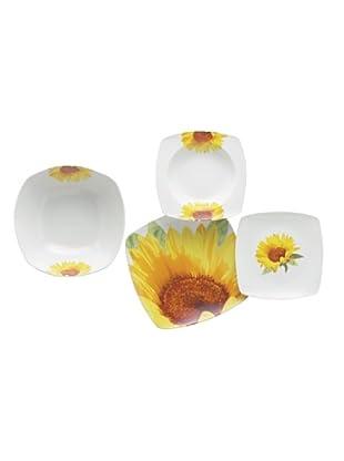 Enjoy Home  Geschirr 19 tlg. Set Square Sunflower gelb/weiß