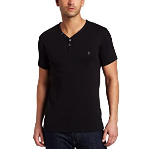 French Connection Men's Short Sleeve Henley, Black, Small