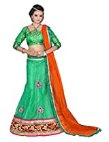 Surupta Green Self Design Women's Lehenga Choli