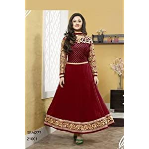 Semi stitched salwar suits - New Designer Georgette Maroon Neck Designer Anarkali Suit
