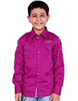 OK's Boys Adoring Magenta Casual Cotton Shirt For Boys | OKS2544PNK