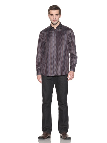 Jhane Barnes Men's Overlap Long Sleeve Button-Up (Burgundy)
