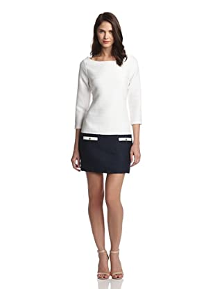 JB by Julie Brown Women's Kellee Bell Sleeve Shift With Pockets (White/navy)