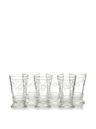 La Rochère Set of 6 Versailles Decor Tall Drink Glasses, 11-oz.