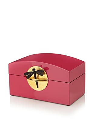 Mili Designs Lacquer Organization Box with Gold-Tone Lock (Fuchsia/Gold)
