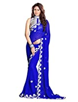 Sourbh Saree Blue Faux Georgette Must Have Best Sarees for Women Party Wear, Special Karwa Chauth Gifts for Wife, Women Clothing Collection