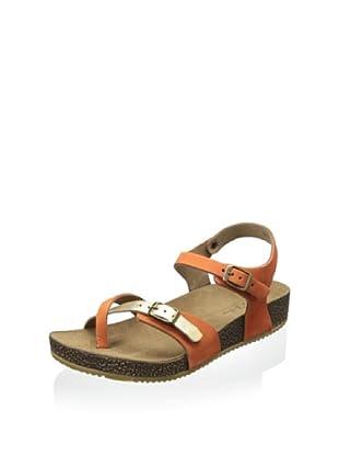 Lara + Lillian Women's Julie Quarter Strap Sandal (Orange/Gold)