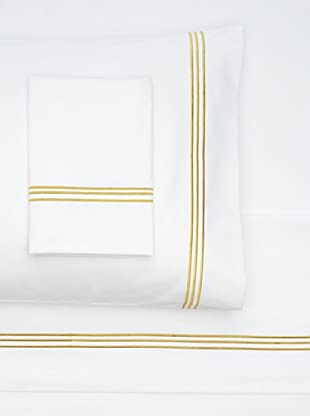 Nine Space Embroidered Sheet Set (White/Gold)