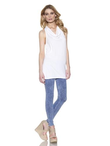 C&C California Women's Sleeveless Cowl Top (White)