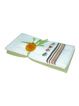 Manterol Paño Cocina Bordado Set 2 (Verde)