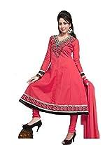 Khushali Women's Semi-Cotton Unstitched Anarkali Salwar Suit dress Material(GAJRI)
