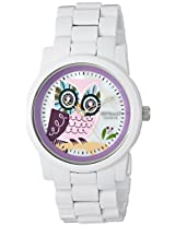 Sprout Women's ST/5034MPWT Diamond and Owl Dial White Corn Resin Bracelet Eco-Friendly Watch