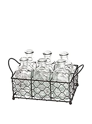 Skalny Rectangle Wire Tray With Bottles, Silver