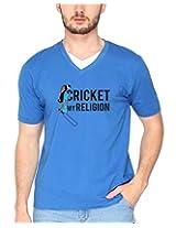 Campus Sutra Royal Blue Double V Neck Tshirt Cricket Religion