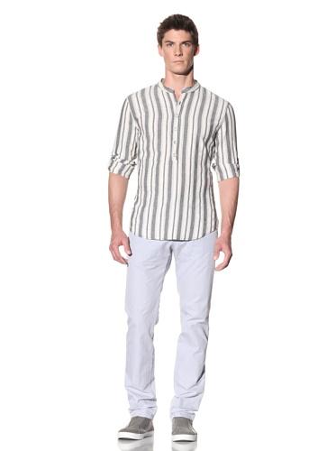 Rogue Men's Stripe Long Sleeve Henley (White/Black)