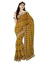 Aadarshini Women's Brasso & Net Saree (110000000058, Yellow)
