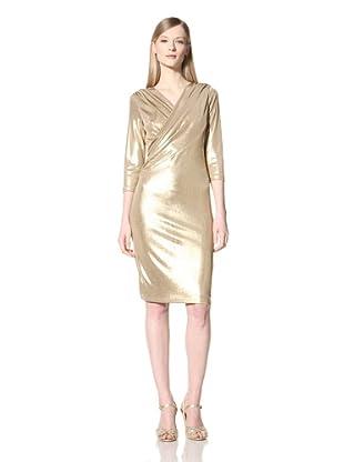 Pink Tartan Women's Drape Twist Dress (Gold)