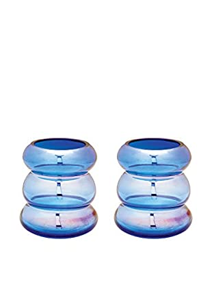 Artistic Set of 2 Cobalt Ring Vases, Cobalt Blue