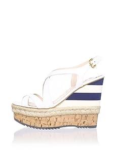 PRADA Women's Wedge Sandal (White/Blue)