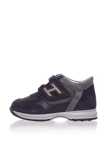 Hogan Kid's Logo Strap Two-Tone Sneaker (Grey/Navy)