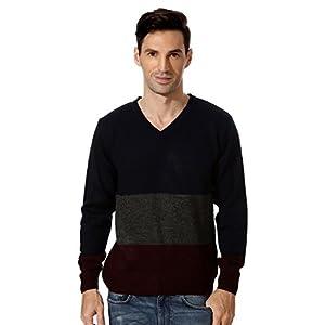 Peter England Navy Patterned V Neck Sweater