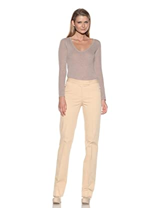 Loro Piana Women's Flat-Front Pants (Almond)