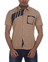 Fashionbean Men's Casual Shirt (CS1266D_XXXL, BEIGE, XXXL)