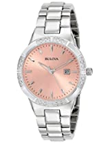 Bulova Diamond Analog Pink Dial Women's Watch - 96R175