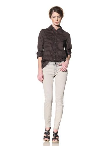 Nola Z Women's High-Low Swing Button-Front Shirt (Black)