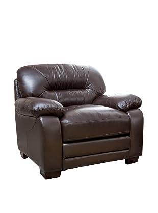 Abbyson Living Brenteena Leather Armchair, Dark Truffle