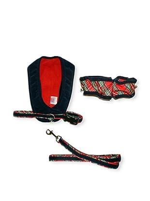 My Canine Kids Walk Fit Harness, Neck Scrunchie & Lead Gift Set (Navy Velvet/Red Plaid)