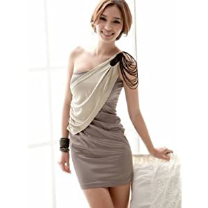 Santana One Shoulder Gray Cocktail Party Dress
