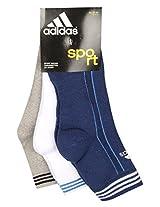 Adidas Half Cushion Quarter Socks AD417 (Blue Depth/White/Grey Mel) Pack of 3