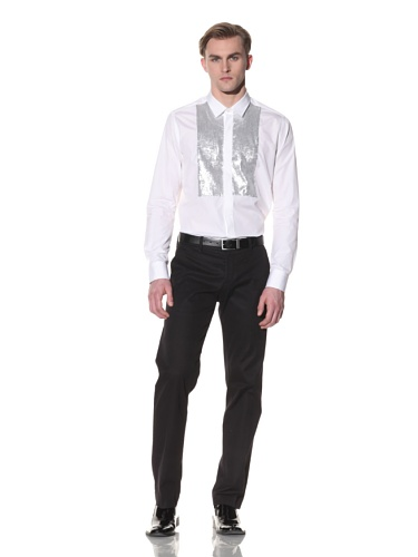 Halston Men's Button-Up Shirt with Sequined Bib (White)