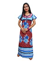 Indiatrendzs Women's Hosiery Cotton Nighty Red Floral Print Nightgown Maxi